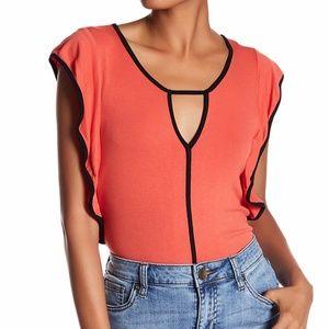 Bobeau Knit Ruffle Sleeve Blouse Orange Black M